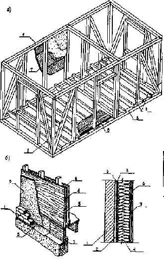 а — монтажная схема постройки